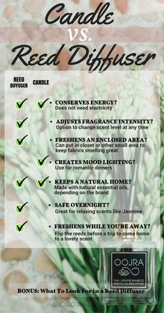 Candle Versus Reed Diffuser | Which One Is Right For You? | Infographic With Pros and Cons | Find Article Here: http://oojra.com/candles-versus-reed-diffusers/?utm_source=pinterest.com&utm_medium=social&utm_campaign=baCandlevsReedDiffuser&utm_content=IGImageCandleVsReedDiff
