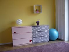 DIY refurbished ikea malm dressers        Materials: Malm, paint roller, paint, dots stickers, lacquer