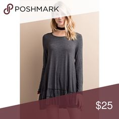🆕 Long Sleeve Ruffle Hem Tunic Charcoal Long Sleeve Ruffle Hem Tunic  🔹Round neckline 🔹Long sleeves 🔹Ruffle detailing at the hem 🔹Dark charcoal gray 🔹Can wear with leggings or as a mini dress. 🔹Price firm unless bundled  Instagram: effortless_beauty_boutique  👍🏻Top Rated Seller 👍🏻Fast Shipper 🚫No Trades Effortless Beauty Boutique Tops Tunics