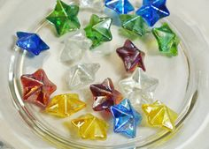 Star Shaped Glass Gems  Pack of 18  Assorted by PurpleSquirrelShop