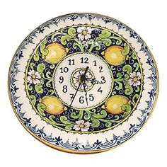 CERAMICHE D'ARTE PARRINI - Italian Ceramic Wall Round Clock Art Pottery Hand Painted Decorated Lemons Made in ITALY Tuscan