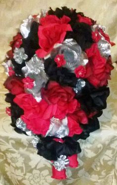 Cascading Bridal Bouquet 19 piece set Red Black Silver roses by SilkFlowersByJean, $500.00