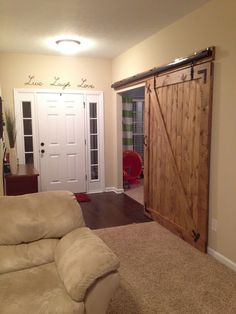 The Monson Family: Barn door - perfect to hid the laundry room or open it up while in use! Barn Door Closet, Barn Doors, Doors And Floors, Home Additions, Living Room Carpet, Home Reno, Home Projects, Home Goods, Sweet Home