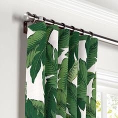 Green Banana Leaf Curtain, Ring Top by Loom Decor