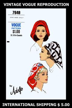 Pattern Peddler: 1960's Millinery 7648 Vint VOGUE ADOLFO SCARF HAT Fabric Material Sewing Pattern