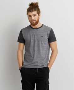 American Eagle Colorblock Crew T-Shirt, Men's, Black
