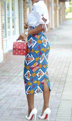 JOYCHEER Womens Skirts African Print High Waisted Skirt Dashiki Pencil Summer Midi Dresses Africanstylesforladies - African Styles for Ladies African Fashion Designers, African Fashion Dresses, Fashion Outfits, Womens Fashion, Ankara Fashion, Cheap Fashion, Fashion 2017, Fashion Ideas, Fashion Tips