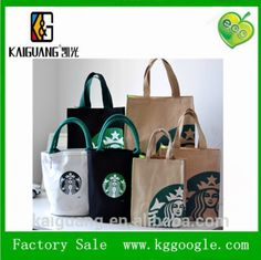 starbucks eco-friendly fashion cotton canvas bag portable cotton bag with hot transfer printing