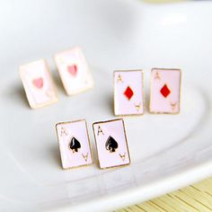 comércio por atacado na Europa e América retro cartões faixa de corrente de requintados esmalte brincos (cor aleatória)