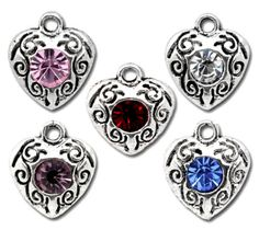 10-ANTIQUE-SILVER-ASSORTED-CRYSTAL-HEART-CHARMS-PENDANT-10mm-x12mm-WEDDING-38A