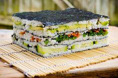 Sushi Napolean #sushi #avocado #salmon #nori