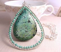 Turquoise and sterling silver LARGE pendant wire wrapped necklace $148 #statement #jewelry @Shadow
