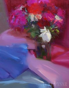 Pink Roses Painting White Roses Floral Bouquet Still by Pysar