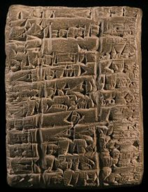 Agricultural account tablet in Sumerian referring to flocks and herds, probably the property of one of the great temples of Southern Babylonia. About 2400 BCE.