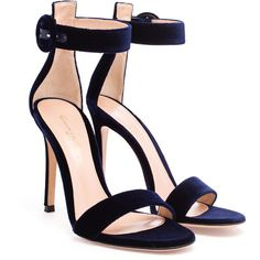 Gianvito Rossi Portofino Velvet Sandals (1 110 AUD) ❤ liked on Polyvore featuring shoes, sandals, heels, high heels, blue, heeled sandals, blue velvet shoes, ankle wrap sandals, heels stilettos and blue stilettos