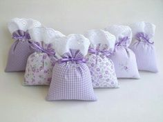 Purple/Lilac bottom And the top with wide Lace or Brodilay fabric and purple ribbon as Tie Lavender Crafts, Lavender Bags, Lavender Sachets, Small Sewing Projects, Sewing Crafts, Sachet Bags, Scented Sachets, Bazaar Ideas, Patchwork Bags