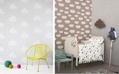 Les nuages dans la déco - Papier peint Nuage de coton de chez Bartsch et papier peint Cloud, design Ingela P Arrhenius pour Ferm Living.