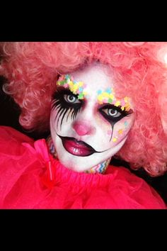 Candy Clown- I couldn't wait to try this candy clown with my new contacts. All products are MAC & Wolfe paint Liquid latex was used to block out eyebrows. You need to use a glue stick to push down eyebrow hairs then line tissues paper over then a layer of liquid latex over that. The entire thing will peel off without damaging your eyebrow hairs. Joymariemua on IG