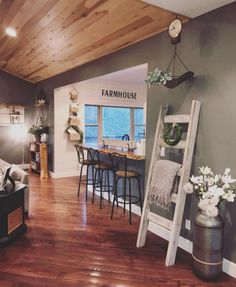 Home Remodeling Decor Nice 88 Brilliant Rustic Farmhouse Style Living Room Design Ideas. - In trying to decipher which style is what, one can become confused at best. While there are specific elements relating […] My Living Room, Home And Living, Modern Living, Kitchen Living, Cozy Living, Small Living, Living Room Ceiling Ideas, Green Living Room Walls, Farmhouse Living Rooms
