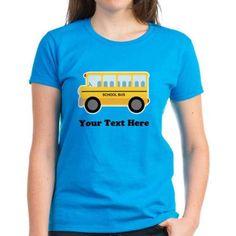 Cafepress Personalized School Bus Women's Dark T-Shirt, Size: XL, Blue