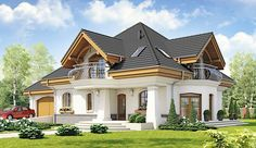 Projekt domu z poddaszem o pow. 188,7 m2 z obszernym garażem, z dachem namiotowym, z tarasem, z wykuszem, sprawdź! House Plans Mansion, Duplex House Plans, Dream House Plans, 4 Bedroom House Designs, Bungalow House Design, Modern House Design, Home Building Design, Building A House, Modern Bungalow House