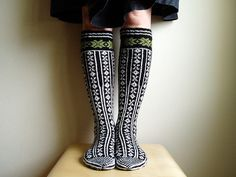 Norwegian Socks by Nancy Bush; knitted by mustaavillaa