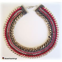 Crochet and chain statement necklace