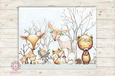 Woodland Animals Wall Art Print Boho Floral Deer Bunny Fox Bear Hedgehog Bohemian Watercolor Baby Girl Nursery Printable Decor
