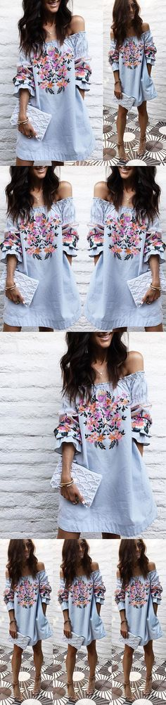 Women Tops Blouses: Fashion Womens Ladies Summer Off Shoulder Shirt Loose Casual Blouse Tops Dress -> BUY IT NOW ONLY: $7.31 on eBay!