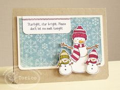 winter card ... luv it all!!! ... popped snowman family, overal design, snowflake paper panel, kraft base paper,  sentiment ...