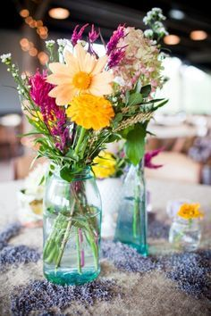 bright flowers, pinks, oranges, yellows and blues