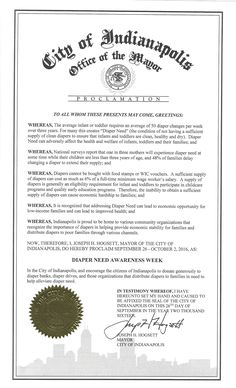 INDIANAPOLIS, IN - Mayoral proclamation recognizing Diaper Need Awareness Week (Sep. 26 - Oct. 2, 2016) Diaperneed.org #Diaperneed