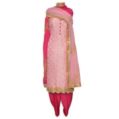 Pretty rose pink unstitched benarasi suit complemented with heavy zari work dupatta-Mohan's the chic window