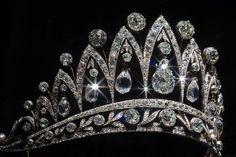 the empress josephine tiara was created by fabergé in 1890 - the stunning briolette diamonds were a gift from tsar alexander I given to josephine after she was divorced from napoleon. this piece is one of only a few tiaras ever made by fabergé