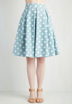 Sweet Yourself Skirt in Blueberry - Blue, Polka Dots, Pleats, Party, Work, 50s, 80s, Pastel, High Waist, Full, Summer, Woven, Good, Blue, Mid-length, White, Vintage Inspired