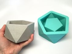 Gran icosaedro II plantador - Slicone - geométrica molde - molde concreto-resina-cera-jabón