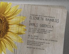 These beautiful rustic sunflowers wedding invitations were completely made in my home studio surrounded by the redwoods of the Santa Cruz