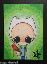 SUGAR FUELED FINN ADVENTURE TIME CREEPY CUTE LOWBROW BIG EYE ACEO MINI PRINT