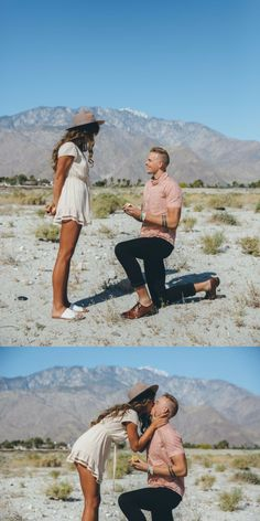 This proposal in the desert is the cutest love story to ever come from Coachella! Romantic Proposal, Perfect Proposal, Romantic Weddings, Engagement Photo Poses, Engagement Photo Inspiration, Wedding Proposals, Marriage Proposals, Proposal Pictures, Proposal Ideas
