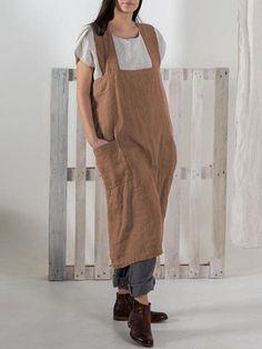 afbcea571fc Japanese Vintage Solid Pockets Cotton Apron Dress
