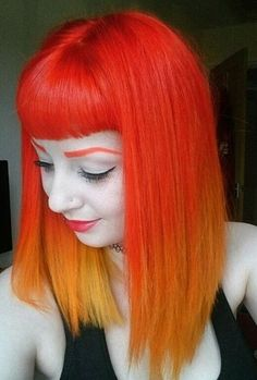 Orange/Gold Ombre with Bangs