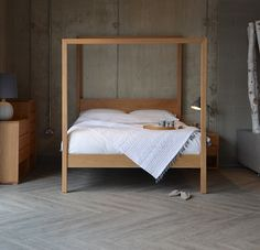 Contemporary Four Poster Bed the orchid contemporary 4 poster bed in solid walnut, shown with