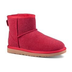 UGG® Australia UGG® Lipstick Red Classic Mini Serein Suede Slipper... ($90) ❤ liked on Polyvore featuring shoes, boots, ankle booties, ankle boots, red ankle booties, red suede boots, suede booties, red boots and red bootie