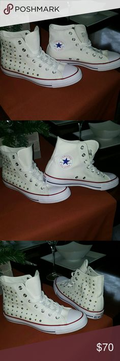 Converse!!💜💙 Adorable!! AllSar!!!!🌟🌟 Silver N Gold Studded Hightop GymShoe! Converse Shoes Sneakers