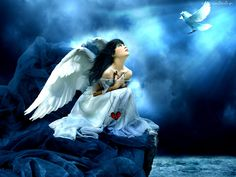 Anioł, Gołąb, Pęknięte, Serce
