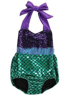 952426ba3c3 Under The Sea Mermaid Sequin Swimsuit Romper With Matching Headband - 18-24  Months Little