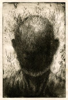 "An etching from Joon Hee Lee's ""Lost Portrait"" series (2011). Check out this South Korean artist's work at: http://www.joonheelee.com/#!works"