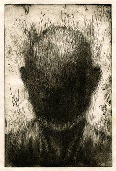 """Joon Hee Lee; Etching, 2011, Printmaking """"Lost Portrait"""""""