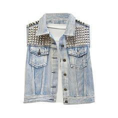 Faded Denim Tanks with Studs and Spikes ($113) ❤ liked on Polyvore featuring outerwear, vests, jackets, tops, sleeveless vest, punk studded vest, punk vest, reversible vest and pocket vest