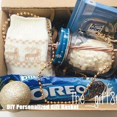 DIY Personalized Gift Baskets DIY Personalized Gift Basket For Anyone, Girlfriend, Kids, Mom Etc - Owe Crafts Diy Gifts For Friends, Diy Gifts For Kids, Craft Gifts, Christmas Gift Box, Xmas Gifts, Cute Gifts, Personalised Gifts Diy, Bff Birthday Gift, Diy Gift Box